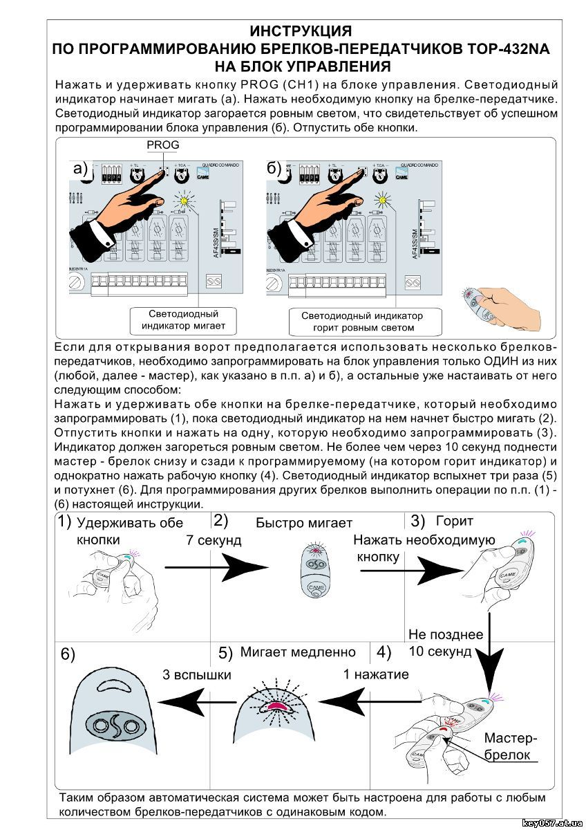 Инструкция как запрограммировать пульт в приемник Камэ